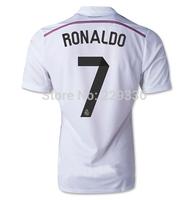 2014 2015 Real Madrid soccer jerseys RONALDO #7 Home White Away Pink 3A+++ thailand quality Ronaldo Isco Football Tshirts custom