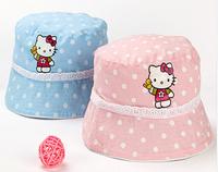 2 Sizes 2 Colors Option White Dot 100% Cotton Hello Kitty Children Girl's Sun Hat