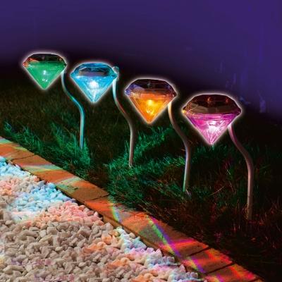 Acier inoxydable solar lawn light pour le jardin décoratif 100% l'énergie solaire extérieure lampe solaire led lumières solaires de jardin lumières de diamant
