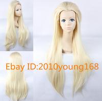 Free Hairnet Lord of the Rings Legolas Greenleaf Light Blonde Long Straight Cosplay Party Wig full hair ,peluca