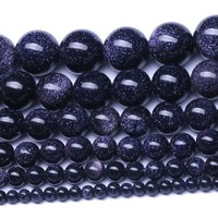 Hot sale Bead stone Blue sandstone Loose Beads fashion jewelry DIY Loose beads for Jewelry Making 38cm Per Strand