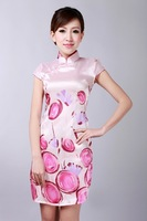 2014 Fashion  Style Silk Chinese Women's Tradition Mini Qipao Top Short Cheongsam Evening Dress Tang's Suit S TO XXL D0182