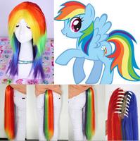 Free Hairnet My Little Pony Rainbow Dash Colors Medium Long Anime Party Costume Cosplay Wig Ponytail full hair ,peluca