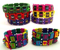 24pcs design color mixing Wood stretch bracelets Fashion Jewelry