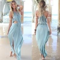 Sexy boho chic beach dress casual celebrity cutout high slit maxi dress festival 2014 summer outfit