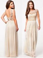 2014 new women  lace evening dress white chiffon  big swing vestido de festa prom dresses