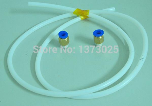 Free shipping ID2mm OD4mm White Teflon Tube/ Feeder pipe with 2 pcs feeding throats 1.75mm Filament(China (Mainland))