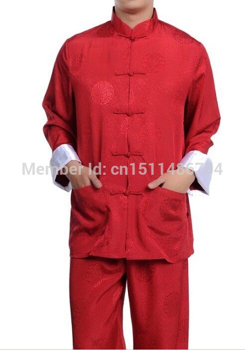 New Red Chinese men's silk kung fu suit pajamas Free Shipping(China (Mainland))