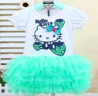 2014 new baby girl summer dress hello kitty Princess girl short sleeve dress beautiful party bowknot tutu dress . In stock
