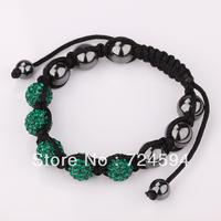 Women's and men's Xmas GiftNew Fashion 10mm CZ Disco Ball& Zinc Alloy Beads Macrame Bracelet XB053