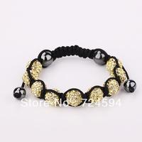 Women's and men's Xmas GiftNew Fashion 10mm CZ Disco Ball& Zinc Alloy Beads Macrame Bracelet XB088