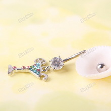 trademin Multicolour Martini Glass Dangle Rhinestone Navel Belly Button Body Piercing  [Hot]