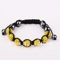 Women's and men's Xmas GiftNew Fashion 10mm CZ Disco Ball& Zinc Alloy Beads Macrame Bracelet XB069