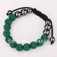 Women's and men's Xmas GiftNew Fashion 10mm CZ Disco Ball& Zinc Alloy Beads Macrame Bracelet XB134