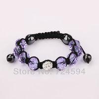 Women's and men's Xmas GiftHot wholesale 10mm CZ Crystal Disco Balls Handmade Macrame Bracelet XB038