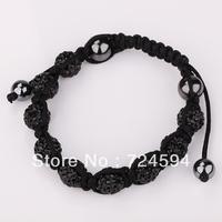 Women's and men's Xmas GiftNew Fashion 10mm CZ Disco Ball& Zinc Alloy Beads Macrame Bracelet XB083