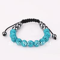 Women's and men's Xmas GiftNew Fashion 10mm CZ Disco Ball& Zinc Alloy Beads Macrame Bracelet XB132