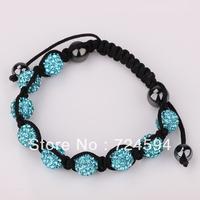 Women's and men's Xmas GiftNew Fashion 10mm CZ Disco Ball& Zinc Alloy Beads Macrame Bracelet XB091
