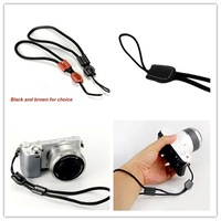 1pc/lot Classic Black/Brown Real Leather Comfortable Hand Wrist Strap Lanyard for Digital Camera DSLR 672206