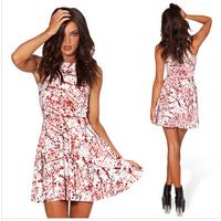 2014 New summer Print dress women Casual O-Neck Sleeveless tank Pleated Slim White vestido estampado roupas femininas de festa