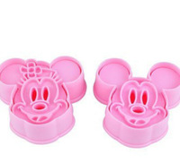 Pink Baking Cookies Mold Mickey Mouse Printing Dessert Creative DIY Moulds Tools 2Sets/8PCS