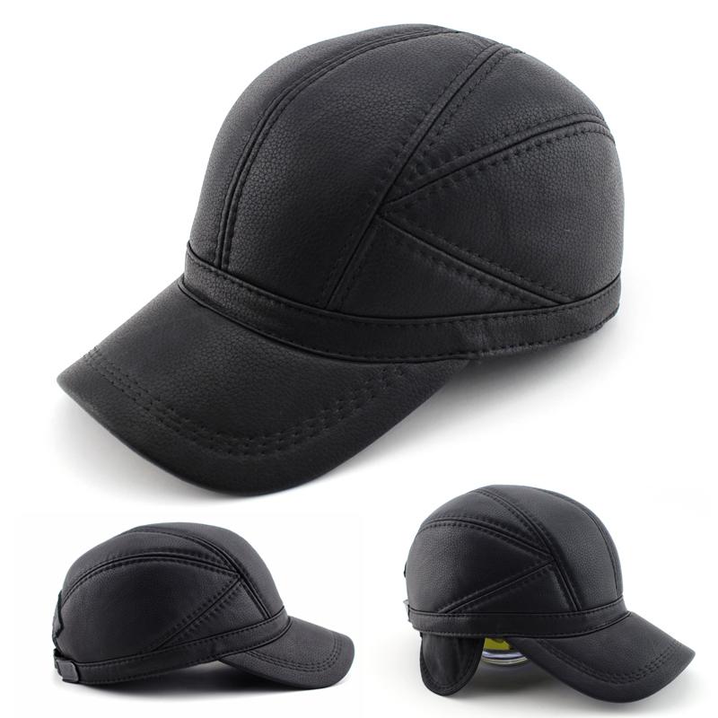 De haute qualité en cuir véritable en cuir chapeau d'hiver chapeau casquette de baseball réglable pour les hommes noirs chapeaux, livraison gratuite