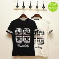 In the summer of 14 models of new digital printing Japanese men's street hip-hop crew neck T-shirt