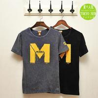 2014 summer new fashion men washing men's M English printing short-sleeved T-shirt