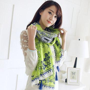 new fashion muslim national floral cyan-blue scarf tassel chiffon shawl for women long warm autumn scarves pashmina (ALK8091)(China (Mainland))