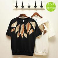 2014 hip-hop fashion gilt patch juvenile Japanese men round neck short sleeve T-shirt street