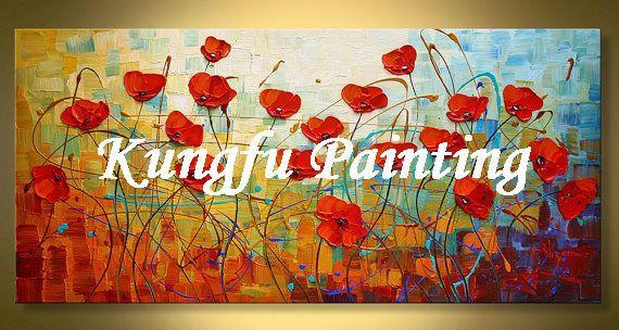 TEX1085 Handmade moderna abstrata papoulas faca de paleta da lona arte da parede pintura a óleo da flor textura sala de estar fotos decoração(China (Mainland))