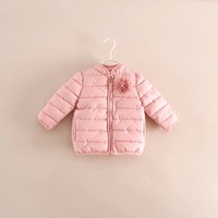 New 2014 Winter Children outerwear girls foreign trade pink color cotton-padded jacket thicken warmer coat 5pcs/lot