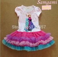 HOT New kid's 2014 cartoon summer dress Retail 2-6yrs Girls' Frozen Dress girl's tutu princess dress lovable children clothing