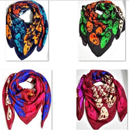 EMS Free Wholesale 12 Pieces Lots Skull Design Women's 140cm Square Scarves Cotton Scarf Women Pashmina Shawls(China (Mainland))