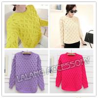 Autumn Winter Retro Women Ladies Pullover Slim Twist Fluorescent Green Argyle Crewneck Long Sleeve Knitted Sweater cx851547