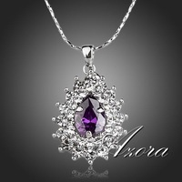 Glittering Purple Swiss Cubic Zirconia Stone Sunflower Pendant Necklace FREE SHIPPING(Azora TN0124)