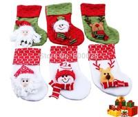 16pcs/lot Christmas Stocking Xmas Socking Santa Claus Sock Christmas Gifts Snowman and Santa and Reindeer Pattern