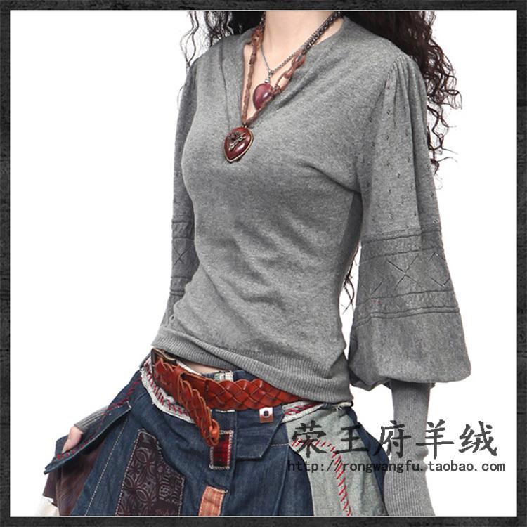 Il nuovo 100% maglione cashmere puro V- collo lanterna maglia maniche delle donne scavare coltivare la propria moralità maglione nero