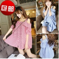 sweet all-match slit neckline puff sleeve strapless plaid half sleeve shirt female