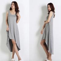 2014 spring and summer sleeveless irregular sweep basic modal tank dress one-piece dress slim plus size clothing