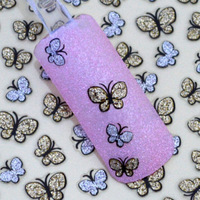 Mini order is $10 (mix order) PROMOTION Rushed New Fashion 3D Glitter Butterfly Nail Art Stickers  Decal Tips Gold/Silver JE189