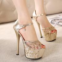 Princess sexy thin heels high-heeled shoes lace paillette hasp sandals open toe single shoes women's platform shoes
