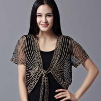Free shipping All-match short-sleeve handmade crochet lacing women's shrug small cape cutout cardigan sweater