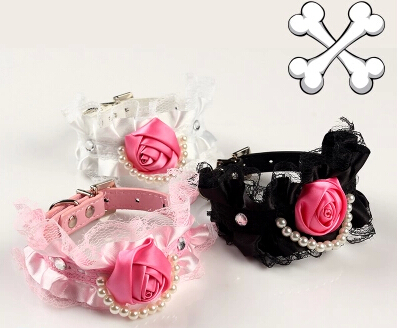 Princess style DIY pearl rose lace leather small cat dog collars exquisite pet products free shipping(China (Mainland))