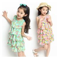 Girls dress 2014 summer new big boy child dress Girls Korean Floral Skirt