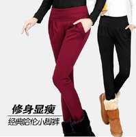 Orders new 2014 autumn winter thick plus velvet elastic leggings women's fashion big size trousers pencil pants