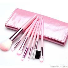 1Pcs Pink 7 in 1 Foundation Eyeshadow Eyeliner Blusher Makeup Brushes Set with Leather Case