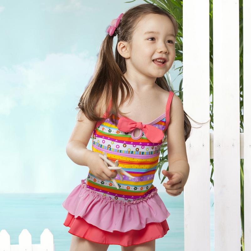 2014 nieuwe kinderen kleurrijke gestreepte rok mooie badpak meisje badpak korea kuuroord china - Badkamer blauwe petroleum ...