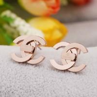Luxury Brand Logo Designer Earring Studs Fashion 18K Rose Gold Plated Titanium Stainless Steel Stud Earrings Women Earing Bijoux