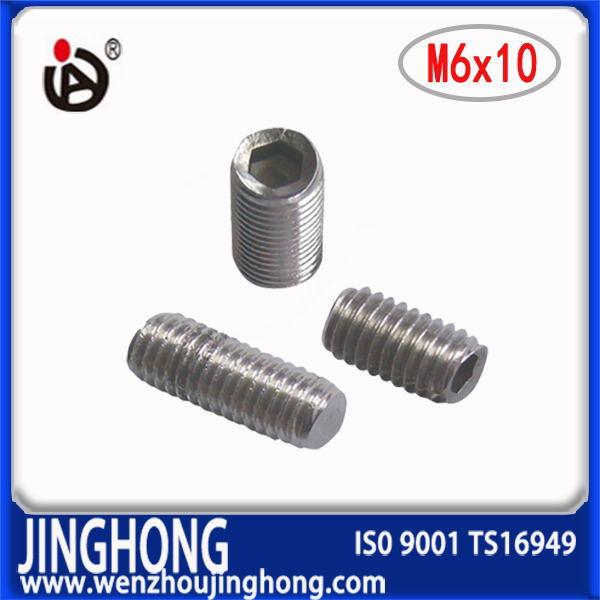 [JH] DIN913 1000pcs/lot M6*10 Stainless steel flat point grub screws(China (Mainland))